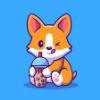 F3b175 cute corgi drink milk tea boba cartoon vector illustration animal drink concept isolated vector flat