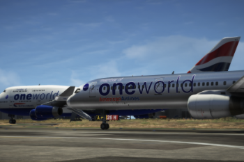 64cc5d boeing 757 300 american airlines oneworld livery with ba 747 400 oneworld livery