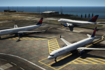 64cc5d boeing 757 300 delta with airbus a330 300 and boeing 747 400 also of delta
