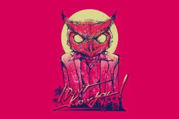 Dc1023 hotline miami rasmus art mask owl minimalism 98193 3840x2400