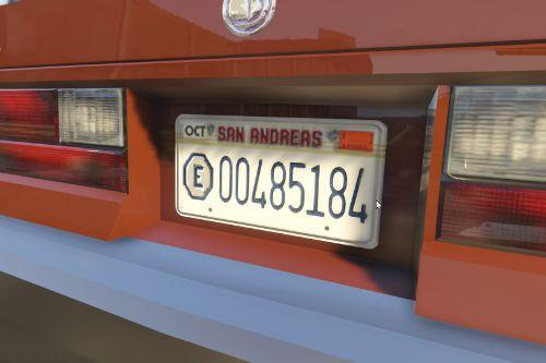 1980s-Style San Andreas Local Exempt Plates
