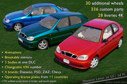 2000 Daewoo Lanos*  [Add-On/Replace | Tuning | Rims | Liveries | Template | Animated]