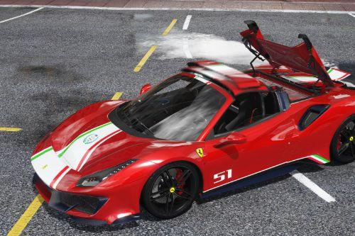 2019 Ferrari 488 Pista Spider [Add-On | Animated Roof | Template]