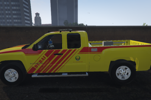 [4K] Dubai Civil Defence Chevy Silverado Fire Utility Vehicle
