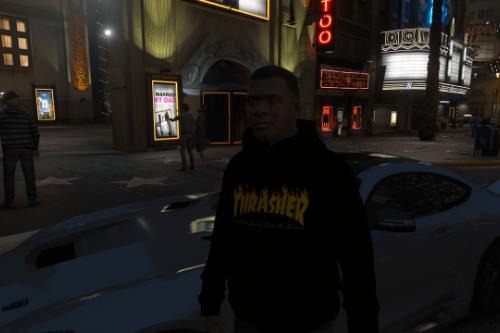 4K THRASHER Flame Logo Black Hoodie