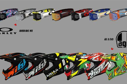 AGV AX 8 EVO Helmets + Oakley Airbrake MX