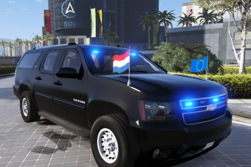 Armored Chevrolet Suburban skin (all blue lights / European Union flags)