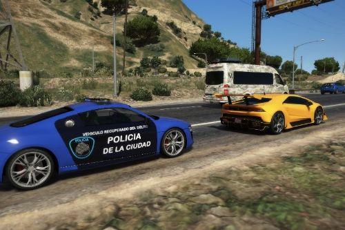 Audi r8 de la policía de la ciudad (Argentina)