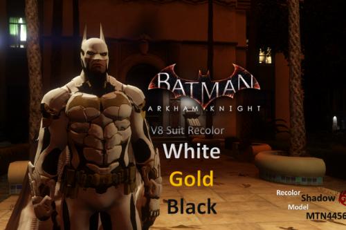 Batman Arkham Knight v8 Suit White Gold and Black Recolor