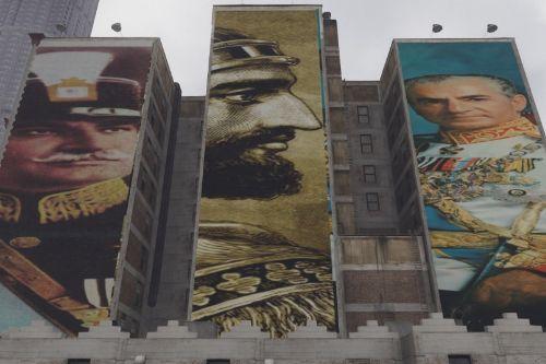 Billboard posters of Cyrus the great , Reza shah and Mohammadreza shah Pahlavi . iran , persia ایران