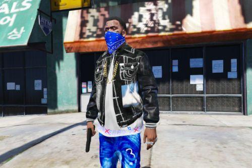 Black Tru Religion jean jacket (For Rollin 30 Crips)