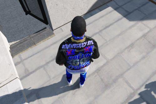 Black Tru Religion jean jacket (For Rollin 60 Crips)