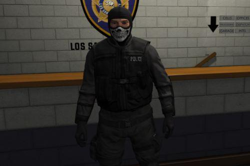Black Uniform with Half Skull Mask for SWAT