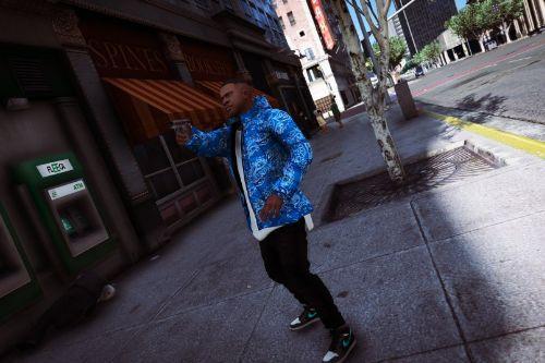 Blue Bandana Puffer Jacket