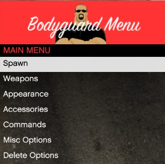 Bodyguard Menu