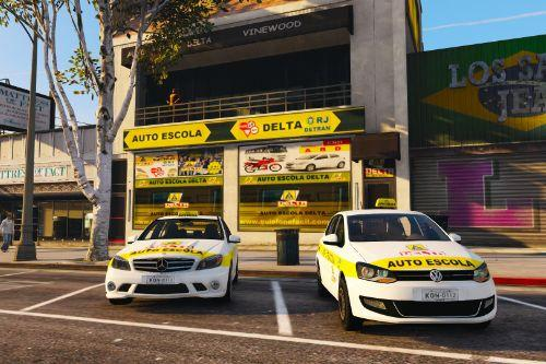 "Brasilian Auto Escola / Driving School ""Delta"" with two Driving School Cars"