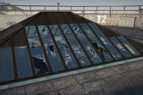 Breakable glass on the FIB roof