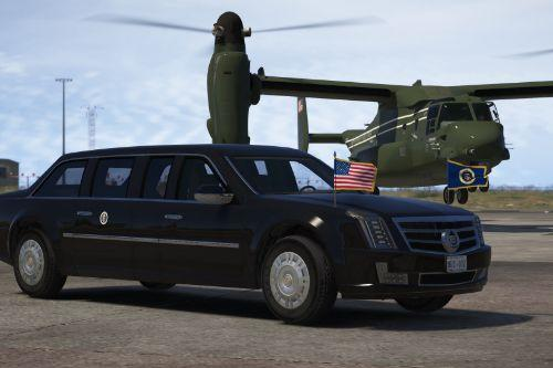 "Cadillac ""The Beast"" Presidential State Car [Waving flags 