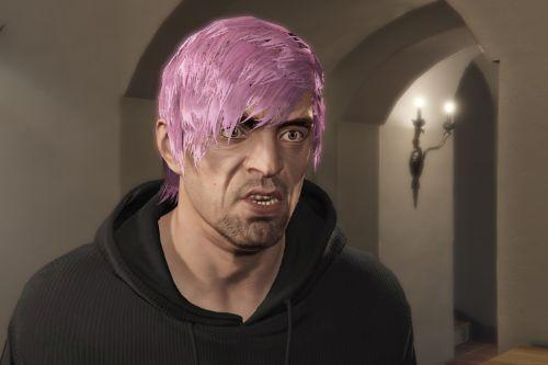 Chopped Hair Cut From Online For Trev. (New Pink Hair)