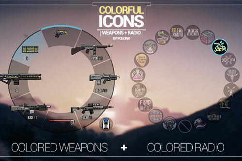Colorful Icons (Radio + Weapons)