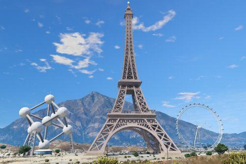 Custom Add-On Props (Eiffel Tower, London Eye, Atomium)