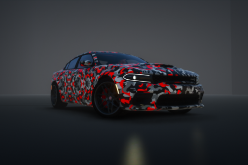 Dodge charger hellcat widebody black hood and roof livery