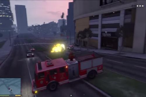 Firetruck Shoots Explosive Rounds