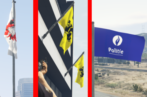Flemish, Belgian Police and Fire department flags.