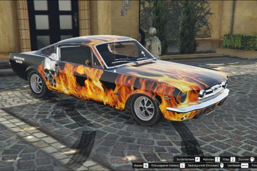 "Ford Mustang Fastback livery - ""it's on fire"" flames, skull BOSS 429 paintjob"