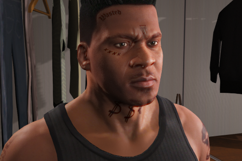 Franklin Face and Hand Tattoos