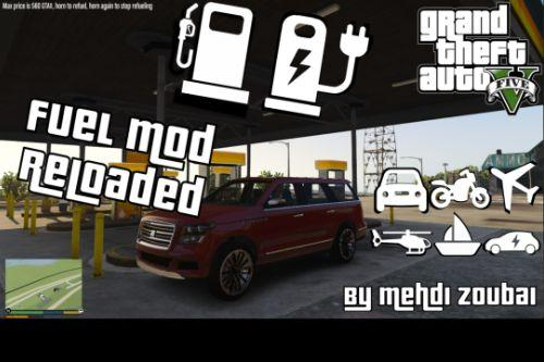 Fuel Mod Reloaded, electric cars, fuel in all vehicle types, charge e-car at home, RPM based and more