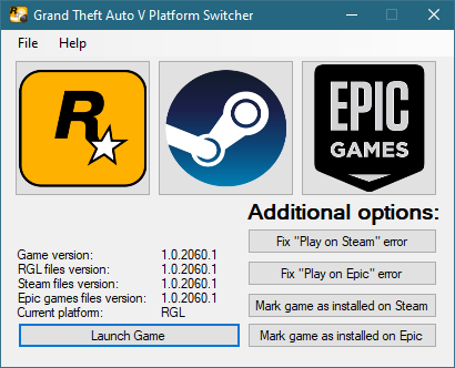 Grand Theft Auto V Platform Switcher