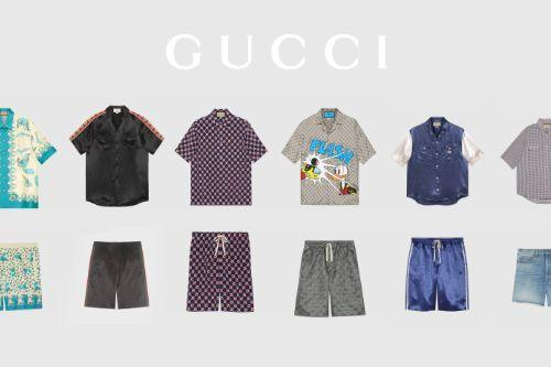 Gucci Shirt & Shorts Pack for Trevor (6 shirts, 6 shorts)