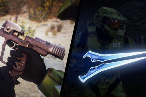 Halo 4 Energy Sword & Halo CE Magnum Weapon Pack [Animated]