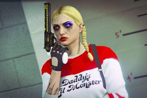 Harley Quinn (Margot Robbie) Makeup and Sweater for Freemode Female