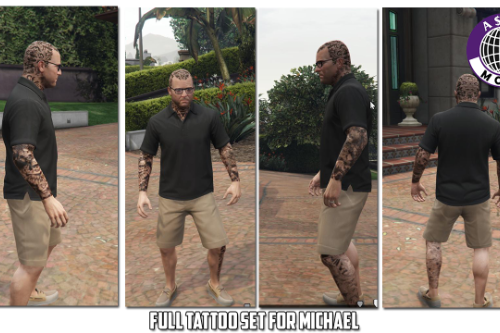 HD Tattoos (face/sleeve/back/feet) for Trevor Franklin & Michael