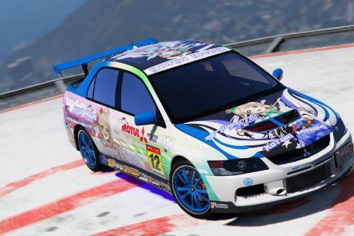 "Itasha ""Love Live! Kotori race car"" Mitsubishi Lancer Evolution IX"