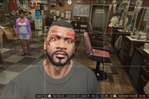 LA Star face tattoo for Franklin