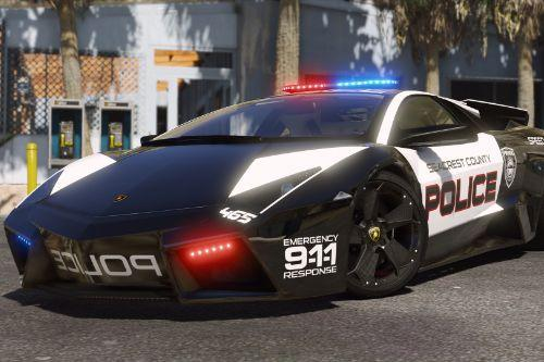 Lamborghini Reventon | Hot Pursuit Police | AUTOVISTA [Add-On / Replace | Wipers | Template | Wings + Spoiler]