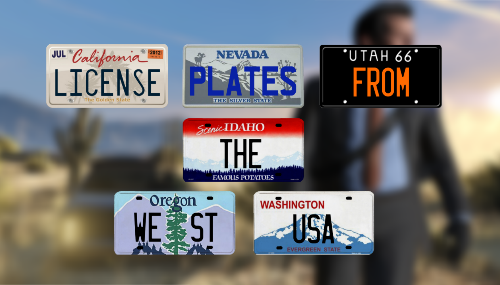License Plates from the west USA