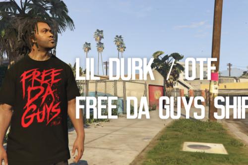Lil Durk / OTF : FREE DA GUYS (Black T-Shirt)