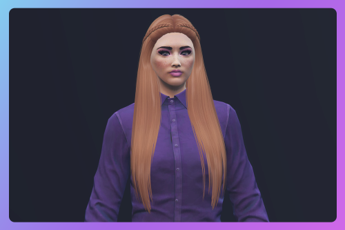 Long sleek hairstyle with 2 small braids for MP Female
