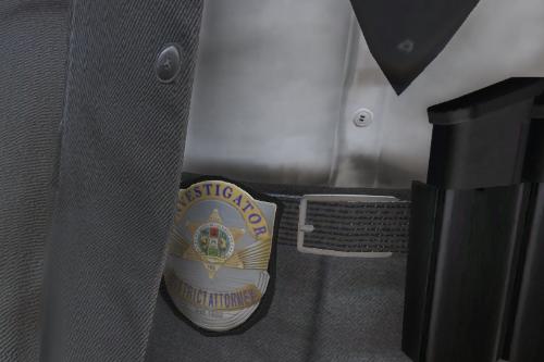 Lore-Friendly District Attorney's Investigator Badge
