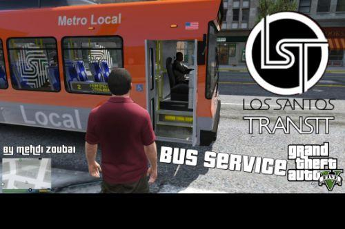 Los Santos Bus Service (as client), bus transport service in Los Santos, player as passenger [OpenIV]