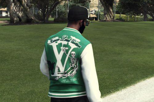 MP Louis Vuitton varsity jacket green Smoking skeleton