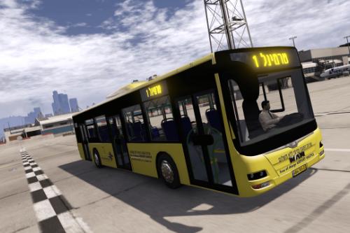 MAN Lion's City A37 || Israeli Ben Gurion Airport Shuttle Bus || אוטובוס שירות הסעה פנימי שדה התעופה בן גוריון