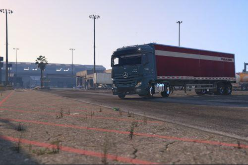 Mercedes Actros Planzer with two trailers