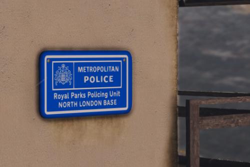 Metropolitan Police Royal Parks Policing Sign
