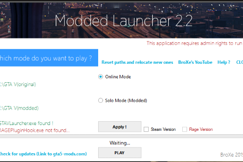Modded Launcher (Works with RPF mods)