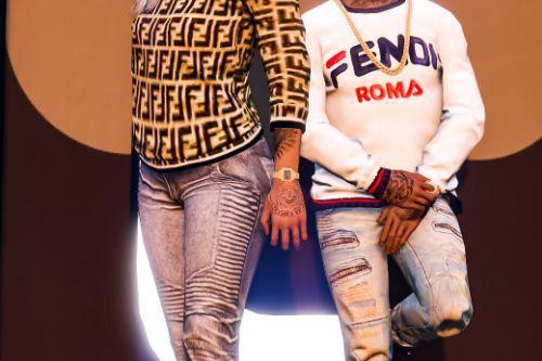 Mp Female Fendi Print Sweater